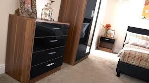 bedroom furniture black gloss. Colossal Walnut Bedroom Furniture BEDROOM FURNITURE 3 PIECE SET BLACK GLOSS WALNUT WARDROBE BEDSIDE Black Gloss