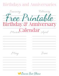 Free Printable Birthday & Anniversary Calendar - Laura Sue Shaw