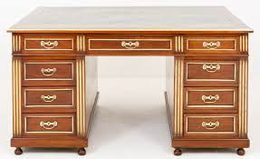 piece description a superb french gany and gilt 18 drawer partners desk