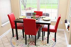 Red dining table set Glass Dining Image Unavailable Amazoncom Amazoncom Pc Red Leather Person Table And Chairs Red Dining