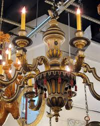1900s hand painted wood french country style 8 arm chandelier gilt and gesso in