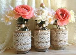 Decorating Mason Jars For Bridal Shower Burlap and lace covered 60 mason jar vases wedding deocration 2