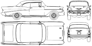 1957 Chevrolet Bel Air Sport Coupe blueprints free - Outlines