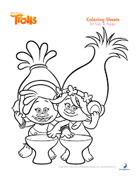Small Picture Trolls coloring sheets and printable activity sheets and a movie