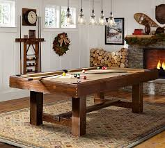 pottery barn pool table with table tennis top rustic mahogany