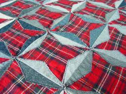 Quilting Memories: Quilts Made From Plaid Shirts & Denim Stars Quilt via Craftsy member QuiltedSunshine Adamdwight.com