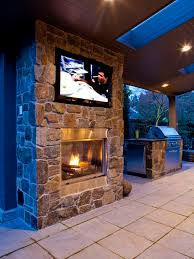 outdoor tv fireplace and grill i love the fireplace for an indoor idea