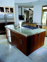 large modern kitchen with a gray concrete countertop