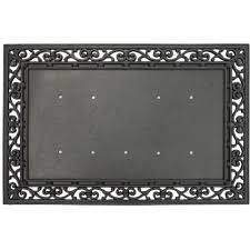 evergreen black 36 in x 24 in traditional rubber door mat base