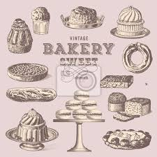 Vintage Bakery Collection Of Sweet Treats Wall Mural Lot Wallpaper Murals
