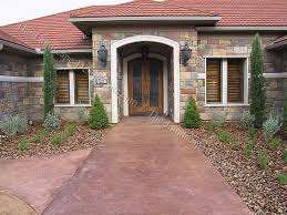 Stamped decorative concrete front door entry ideas