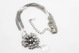 home jewelry necklaces vintage dark silver tone metal multi chain rhinestone flower pendant necklace