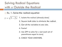 6 solving radical equations