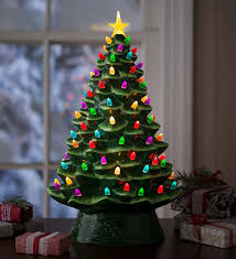 Old Fashioned Christmas Tree Light Bulbs Lighted Ceramic Christmas Tree Battery Operated Green