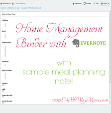 Home Management Binder With Evernote – Includes Meal Plan Note!