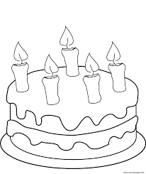 Birthday Cake With Five Candles Coloring Pages Printable