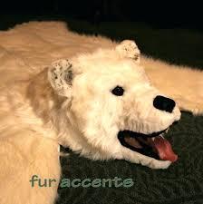 white bear rug bear fur rug polar bear skin rug faux fur taxidermy alternative white 6