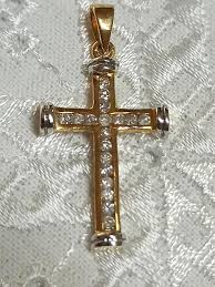 diamond cross pendant 18ct solid yellow