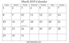 Free Calendar Template March 2015