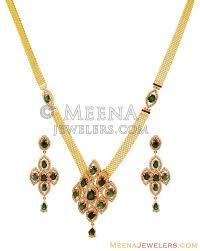 diamond emerald detachable necklace set