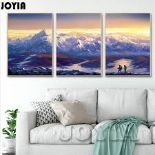 large canvas prints wall art 3 piece scenery pictures continuous snow capped mountains wall decor abstract oil painting no frame in painting calligraphy  on 3 piece wall art mountains with large canvas prints wall art 3 piece scenery pictures continuous