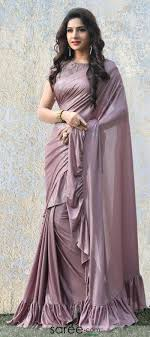 Glitter Designs Sarees Mauve Shimmer Glitter Ruffle Saree With 3d Floral Blouse