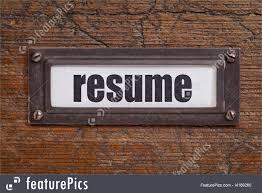 Resume word file cabinet label, bronze holder against grunge and scratched  wood