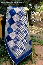 Quilt Patterns For Boys Inspiration Baby Boy Quilt Pink Polka Dot Creations