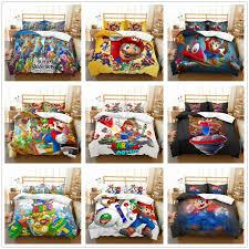 details about 3d super mario odyssey anime bedding set duvet cover quilt cover pillowcase kids