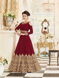 Designer Anarkali Suits Uk Buy Latest Designer Maroon Color Party Wear Indian Anarkali