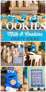 Cookie Monster shows up at this incredible Milk and Cookies boy birthday  party! See more