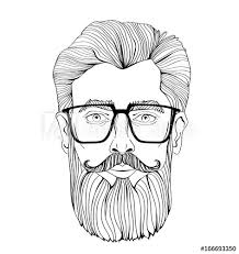 The Face Of A Bearded Man With Glasses Vector Portrait Illustration