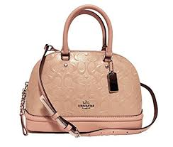 Coach Signature Debossed Patent Leather Mini Sierra Satchel (SV Blush 2) by  Coach