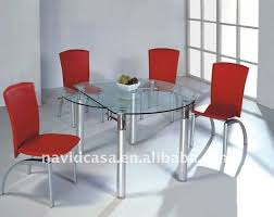 whole round glass dining table and 4 chairs
