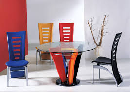 beautiful colorful plastic modern dining room chairs metal frame round glass table top base white and