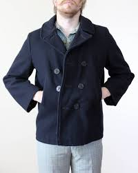 vintage mens navy pea coat size l by deliciousmodvin on