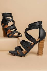 michelle black strappy heels