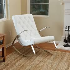barcelona city luxury modern design white leather rocking lounge chair