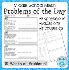 daily word problems for middle school math expressions equations inequalites
