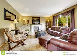 Of Living Rooms With Leather Furniture Elegant Living Room With Leather Furniture Set Stock Photo Image