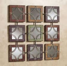9 piece small square wall decor mirrors with metal frames