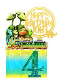 Dinosaur Train Birthday Cake Topper Set Design Craft Handmade