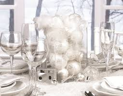 All White Christmas Table Decorations Ideas Silver Top Decorating