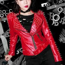 details about new womens punk spike studded shoulder pu leather jacket coat motorcycle jacket