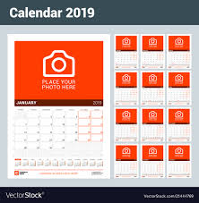 Wall Calendar For 2019 Year Set Of 12 Months