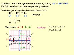 example write the equation in standard form of 4x 2 16y 2 64