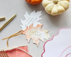Fall Place Cards Watercolor Fall Leaf Place Cards
