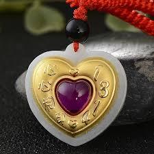 2018 genuine hetian jade 24k gold necklace pendant natural jade heart pendants for couple men women gift from linzicheng 51 01 dhgate com