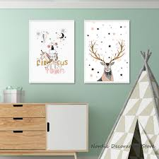 nordic kids room cartoon gold deer posters and prints pink stars wall art canvas painting wall on gold stars wall art with nordic kids room cartoon gold deer posters and prints pink stars