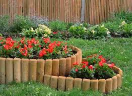 garden edge wood logs